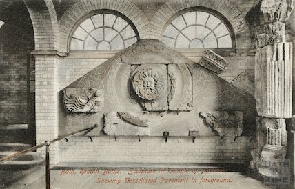 Roman Baths; Gorgon's Head and Temple Pediment, Bath 1907