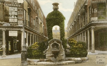 Mineral Water Fountain seen from colonnaded entrance to Bath Street, 1909