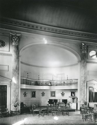 Pump Room interior showing platform and balcony, c.1980s?