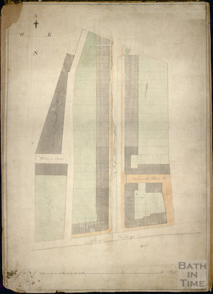 Early plan of Northampton Street, Abingdon Buildings, Arundle Place and William's Street, Bath c.1850s?