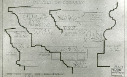 House of Richard 'Beau' Nash - details of doorway from drawings by F.W. Smith 1941