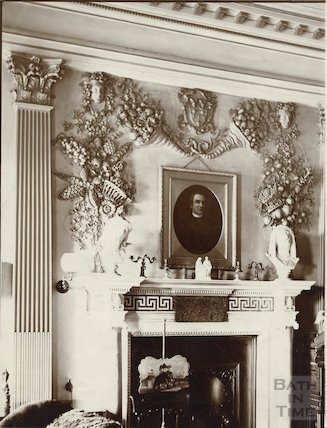 Drawing room and fireplace, Prior Park, Bath c.1903