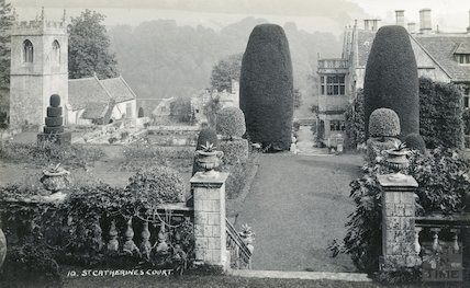 St Catherine's Court, view of garden and church, c.1930s
