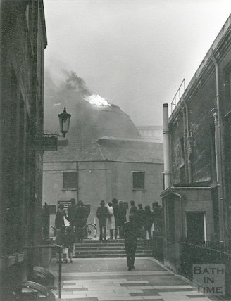 Fire in Guildhall Market, Bath, 1972