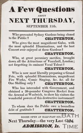 Sydney Gardens, Bath. A few Questions about Next Thursday, September 11th 1845