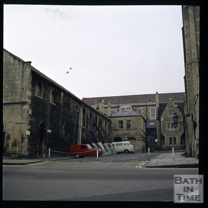 Snowdon. Looking towards the old tennis court (now Museum of Bath at Work), Bath 1972