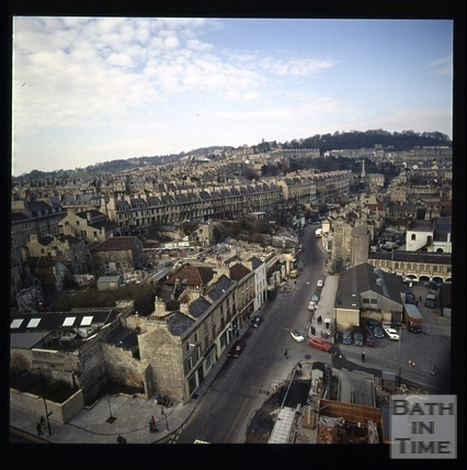 Snowdon. View from crane at Beaufort (now Hilton) Hotel, Bath 1972