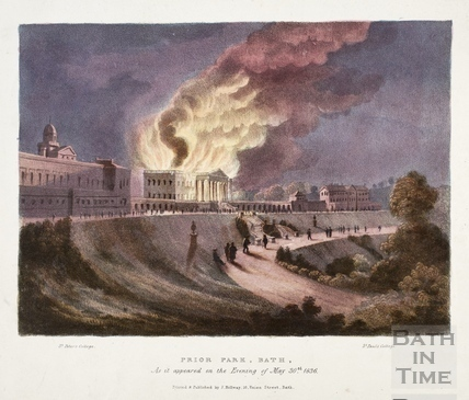 Prior Park, Bath on fire. As it appeared on the Evening of May 30th 1836