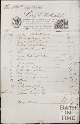 Bought of C.H. Marshall, Bookseller, Binder & Stationer, Milsom Street, Bath 1806