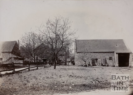 The Old House and Barn, Twerton, Bath which stand to the left of the Old Poor House c.1904