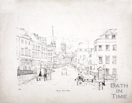 Broad Street looking from Lansdown Road showing Fountain Buildings, Alfred Street, Bath