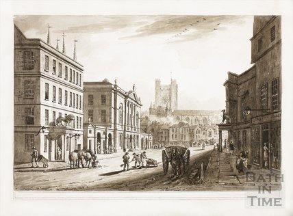 View of the Town Hall, Market and Abbey Church, Bath 1804