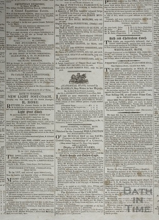 Bath Journal extract including Sydney Gardens, Vauxhall, Bath 1815