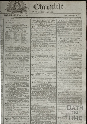 Bath Chronicle extract including Sydney Gardens, Vauxhall, Bath 1795