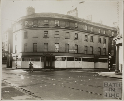 South east corner showing Ealand's store scheduled for demolition, New Bond Street, Bath c.1936