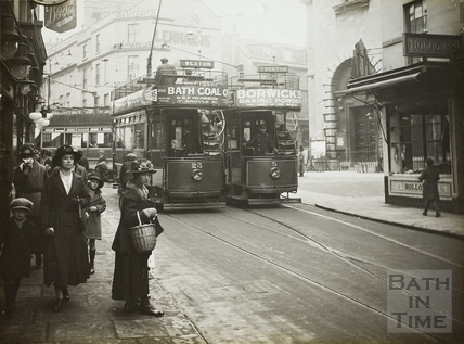 Electric Trams in Southgate Street, Bath 1925