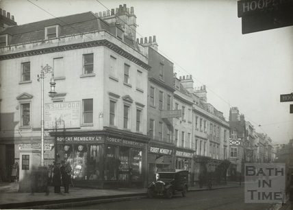 West side of Southgate Street showing Robert Membury's shop, Bath 1932