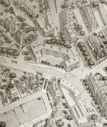 An Axonometric View of the New Shopping Centre at Bear Flat, Bath