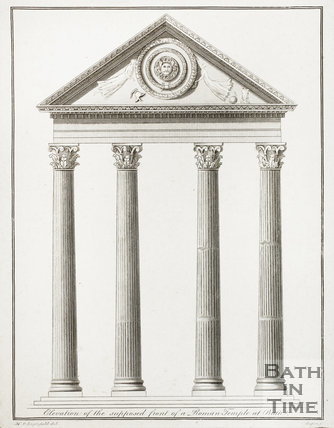 Elevation of the supposed front of a Roman Temple at Bath