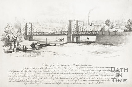View of a Suspension Bridge erected over the River Avon at Twerton near Bath in 1837