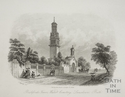 Beckford's Tower, Walcot Cemetery, Lansdown, Bath 1850
