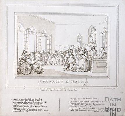 Comforts of Bath, Plate 3. The Pump Room 1798, republished 1857