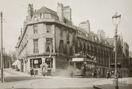 Prince's Buildings looking up Broad Street to Lansdown Road, Bath c.1920 - detail