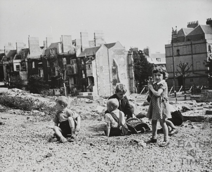 Children playing on a bomb site, Julian Road, Bath c.1950?