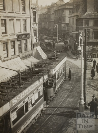 Electric trams, Kingsmead Square, Bath 1925