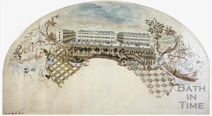 Fan view of South Parade and Pierrepont Street, Bath c.1760