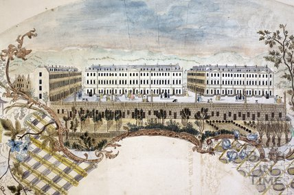 Fan view of South Parade and Pierrepont Street, Bath c.1760 - detail