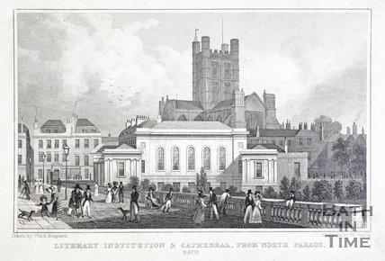 Literary Institution & Cathedral from North Parade, Bath 1829