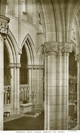 Downside Abbey, through the arches, c.1950s?
