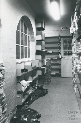 Lending Library, Bridge Street - lower floor corridor outside workroom March, 1990 prior move to Podium