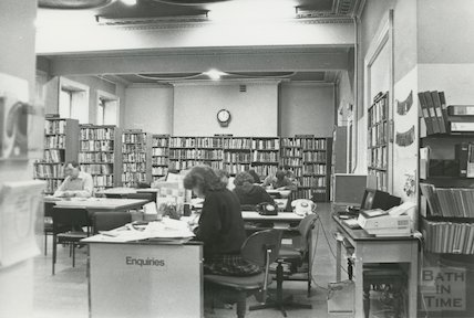 Reference Library, Queen Square - enquiry desk March, 1990 prior to move to Podium
