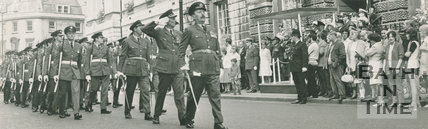 Parade of service men from RAF Colerne, High Street, Bath, 1959