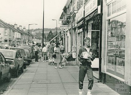 Local shops at Moorland Road, Oldfield Park, 9 September 1987