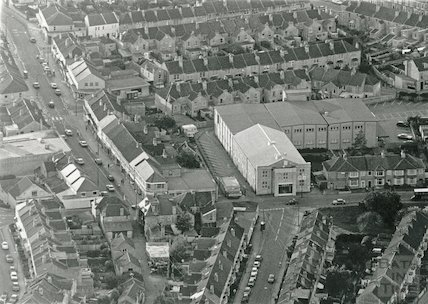 Aerial view of Moorland Road and the former Scala Cinema (now a Co-op supermarket), Oldfield Park, 24 May 1991