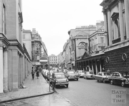 View up Stall Street, Bath 3 February 1967