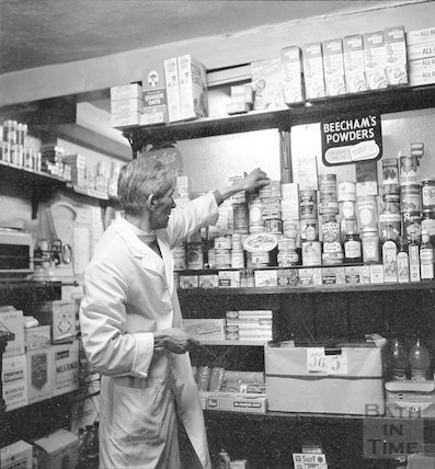 Inside an unidentified grocers, probably in Widcombe, c.1960s