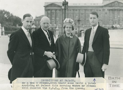 Mr & Mrs James Pitman with sons David & Peter at Buckingham Palace to received the KBE from the Queen, 5 July 1961