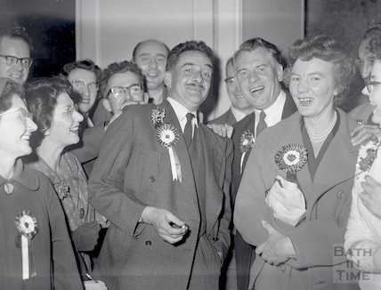 Election supporters after the results of the election at Bath, 9 October 1959
