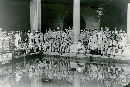 Convalescing soldiers at the Roman Baths, 28 July 1916