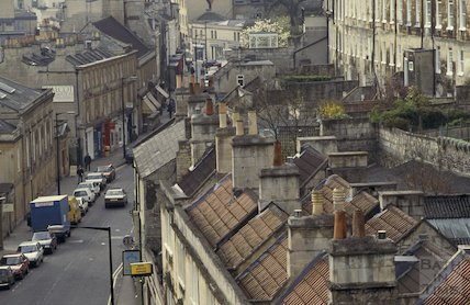 Looking south from the roof of St Swithin's Church, Walcot Street, April 1992