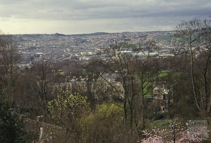 View from Lansdown Crescent looking towards Victoria Park, April 1992