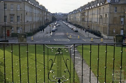 The view down Great Pulteney Street from the Holburne Museum, October 1992