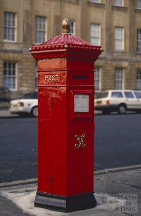 Restored Victorian post-box, Great Pulteney Street, January 1993