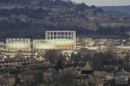 Gas holders from the Hollow, Twerton, March 1993