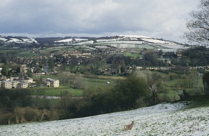 Snow covered Little Solsbury Hill, from the Warminster Road, April 1994