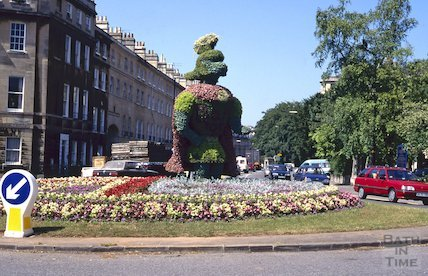 Bathwick Roundabout, floral display, July 1995